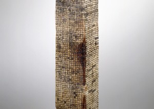 "Image of floor standing ""Cubed II"" sculpture created from wood bandsawn and reassembled with graphite and epoxy"
