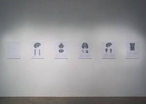 "Image of installation of ""Breathing Lesson"" inkjet print dividing a single breath into a series of physiological events"
