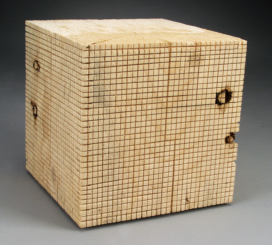 "Image of ""Cubed I"" sculpture created from handsawn wood"