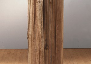 "Image of floor standing ""Measure VI"" sculpture created from bandsawn wood"