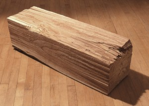 "Image of floor standing ""Measure VII"" sculpture created from bandsawn wood"