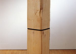 "Image of floor standing ""Measure VIII"" sculpture created from bandsawn wood"