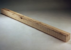 "Image of floor standing ""Square"" sculpture created from handsawn wood"