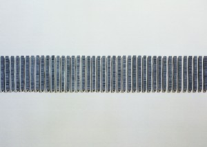 "Image of wall mounted ""Straight II"" sculpture created using bandsawn wood and paint"
