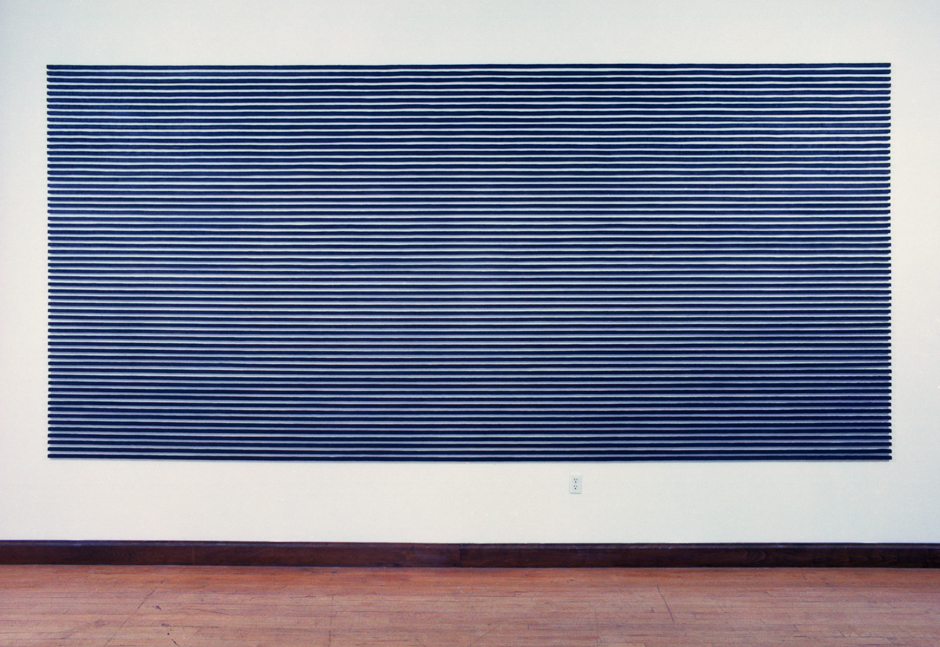 """Image of wall mounted """"Straight IV"""" sculpture created using bandsawn wood and graphite"""